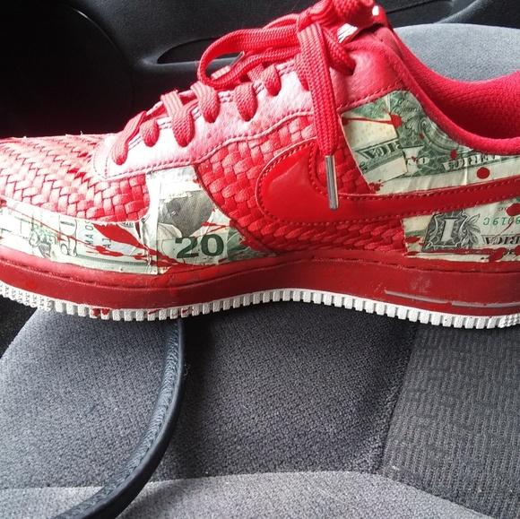 Shoes Custom Real Money Air Force 1 07s Crimson Red Poshmark